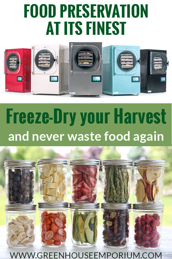 Freeze dryers with the text: Food Preservation at its finest - Freeze-Dry your Harvest and never waste food again