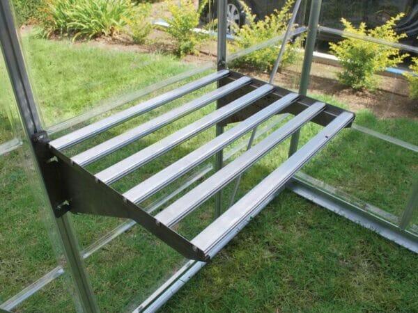 Palram 24.5in x 16.5in Heavy Duty Shelf Kit side view in silver