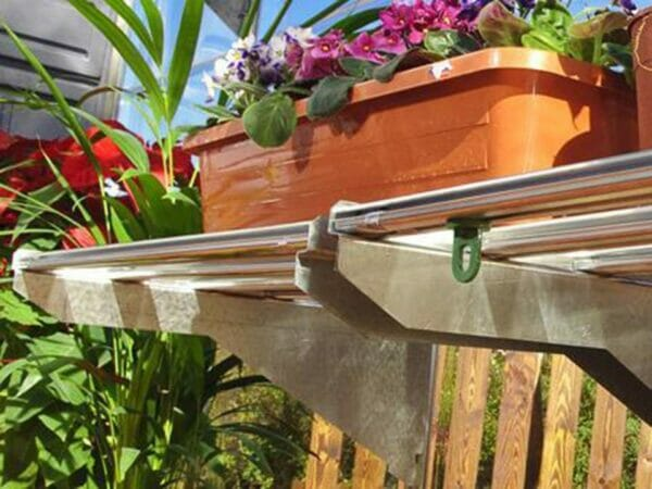 Palram 24.5in x 16.5in Heavy Duty Shelf Kit Close up with pot and flowers on top