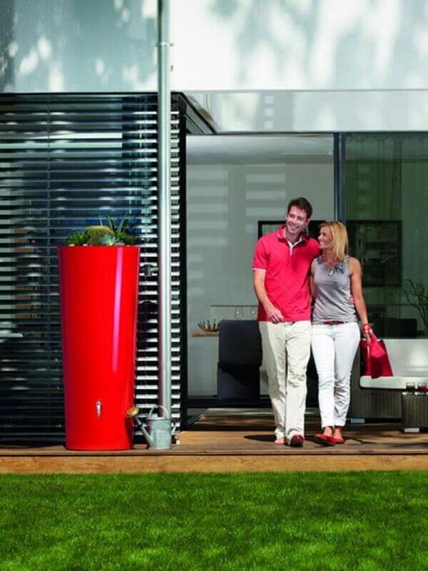 Tomato Red High Gloss Rain Barrel & Planter Outdoor