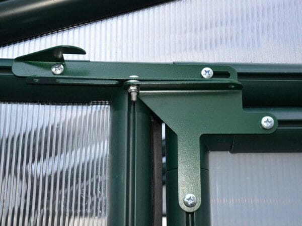 Rion Prestige 2 Twin Wall 8ft x 12ft Greenhouse HG7312 - close up interior view  - Door hinges
