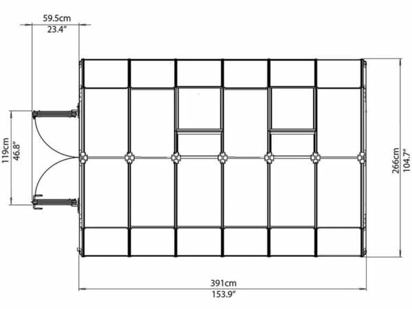 Rion Hobby Gardener 2 Twin Wall 8ft x 12ft Hobby Greenhouse HG7112 - top view of framework with dimensions