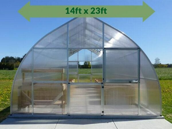 Hoklartherm Riga XL 7 Greenhouse 14x23 with green arrow on top showing dimensions