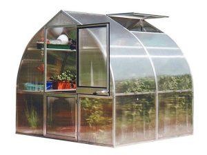 Hoklartherm Riga 2s greenhouse exterior view, white background, roof window open