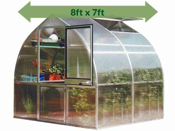 Hoklartherm Riga 2s Greenhouse 8x7 green arrow with text showing dimensions 8ft x 7ft
