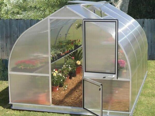 Hoklartherm Riga 4s greenhouse, front view, upper and lower door open, locking handle visible, roof window open