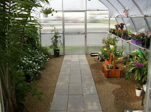 Hoklartherm Riga XL 9 Greenhouse 14x30 interior view with plants and tress and a close door