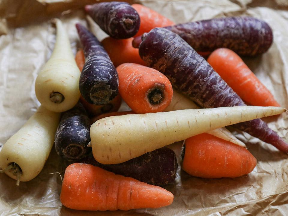 Carrots available in different colors and varieties