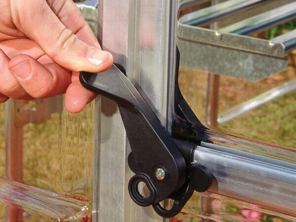 Palram Hybrid 6ft x 8ft Hobby Greenhouse-HG5508(G) - lockable door handle with magnetic catch