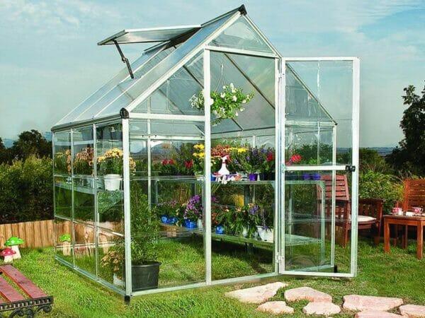 Palram Hybrid 6ft x 6ft Hobby Greenhouse-HG5506(G) - full view -  in a garden