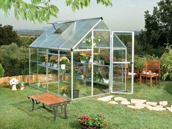 Palram Hybrid 6ft x 8ft Hobby Greenhouse-HG5508(G) - full view - in a garden