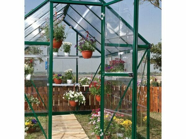 Palram Hybrid 6ft x 8ft Hobby Greenhouse-HG5508(G) - close up interior view with plants inside