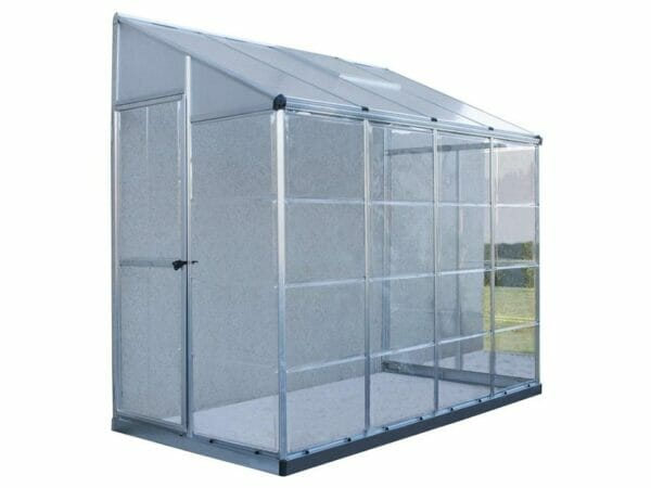 Palram 4in x 8in Hybrid Lean-to side view in white background for Palram accessories