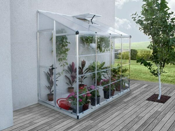 Full set-up of the Palram 4in x 8in Hybrid Lean-To with plants inside for Palram accessories