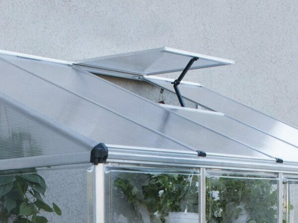 Close up of the Palram 4in x 8in Hybrid Lean-To with open top roof vent for Palram accessories