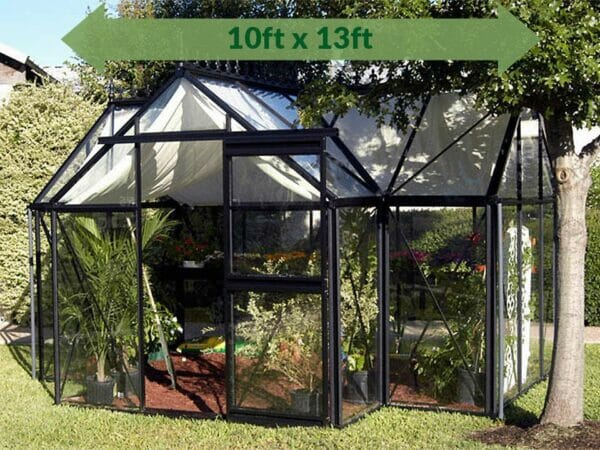 Janssens T-Shaped Junior Victorian Orangerie 10ft x 13ft with green arrow displaying text of dimensions 10ft x 13ft