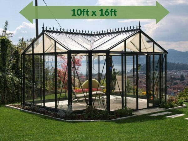 Janssens T-Shaped Royal Victorian Orangerie 10ft x 16ft with green arrow displaying text of dimensions 10ft x 16ft