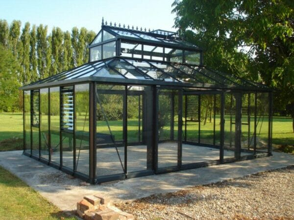 Black Janssens Cathedral Victorian Greenhouse 15ft x 20ft, empty, view from the side