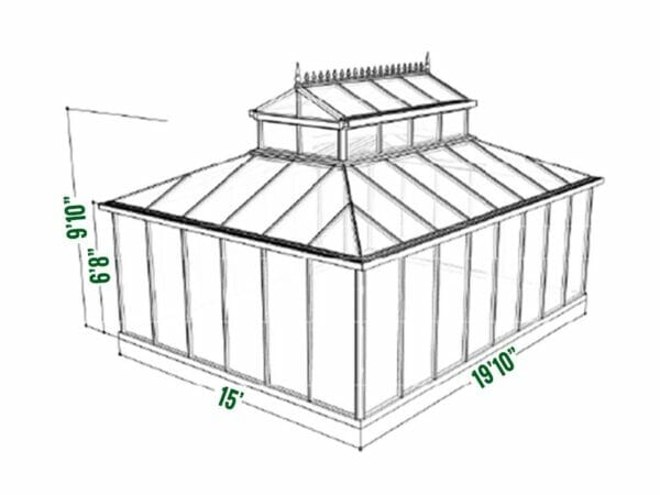 Dimensions of the Janssens Cathedral Victorian Greenhouse 15ft x 20ft