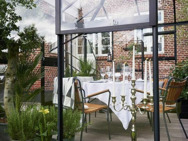 Juliana Oase Anthracite Toughened Glass 12ft x 12ft. Dining set inside