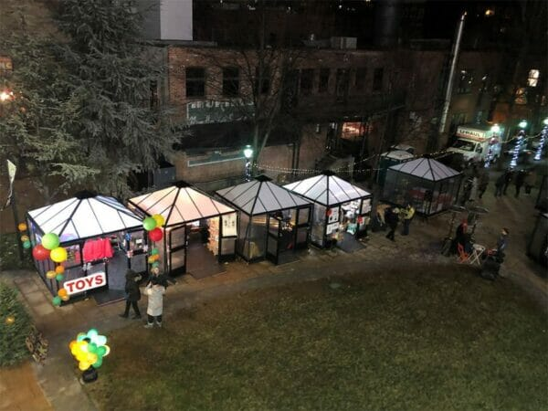 Top view of Juliana 10x10 Polycarbonate in a Christmas fair