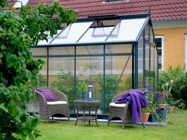 Juliana Premium Greenhouse 9ft x 14ft 10mm Polycarbonate. Side view.
