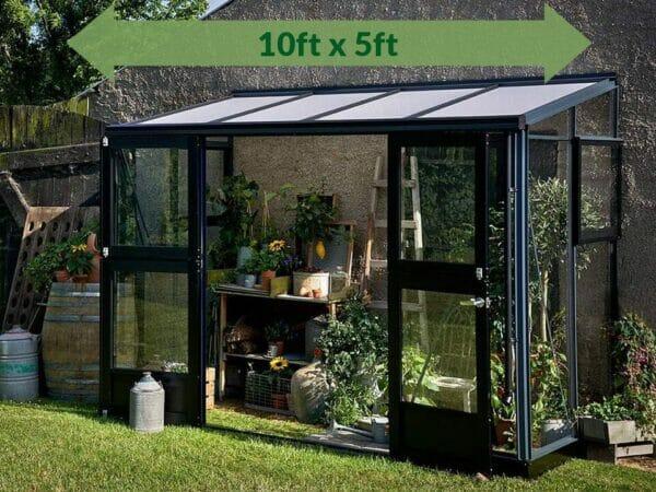 Juliana Veranda Lean-To Greenhouse 10ft x 5ft Anthracite/Black