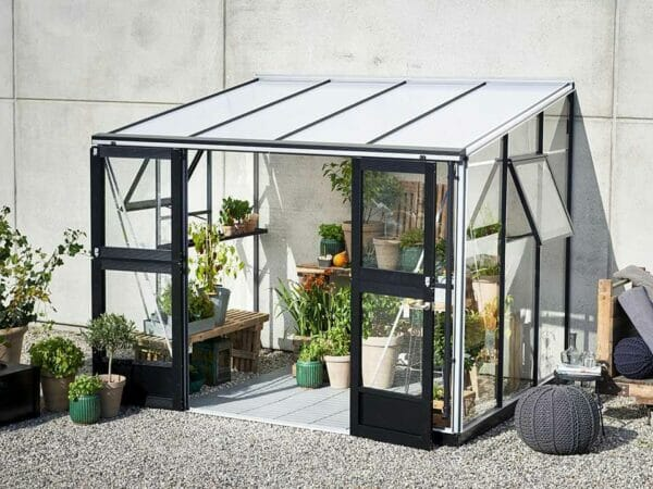 Juliana Veranda Greenhouse 10ft x 7ft. Aluminum. Open Doors and windows