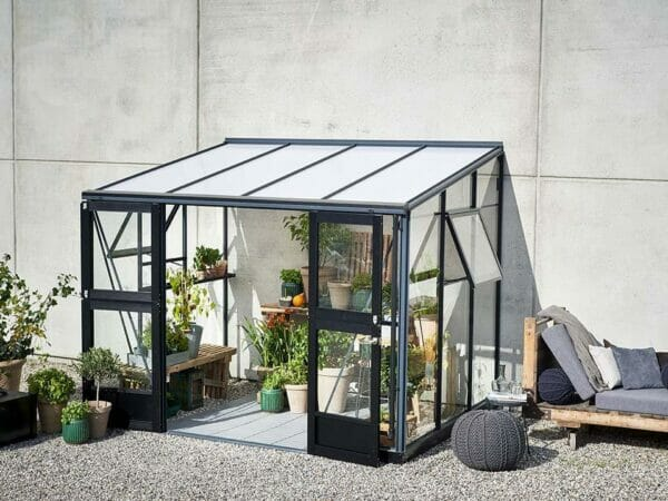Juliana Veranda Greenhouse 10ft x 7ft anthracite. Front and Side View with open doors and windows