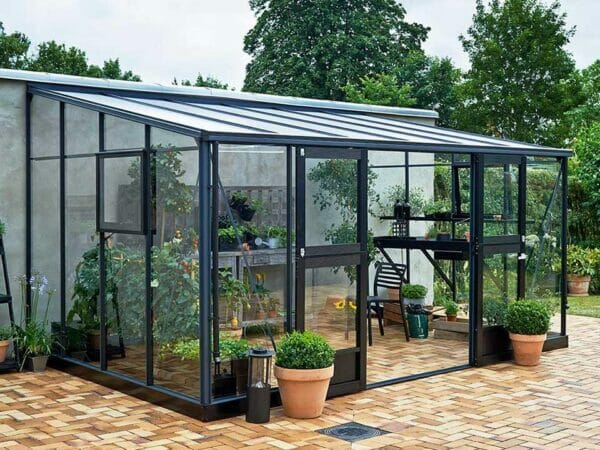 Juliana Veranda Greenhouse 14ft x 10ft anthracite Open doors