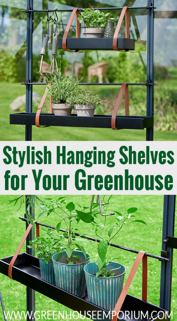 Installed Juliana Hanging Shelves with Leather Straps with plants. The text below says The elegant choice of shelving for your greenhouse