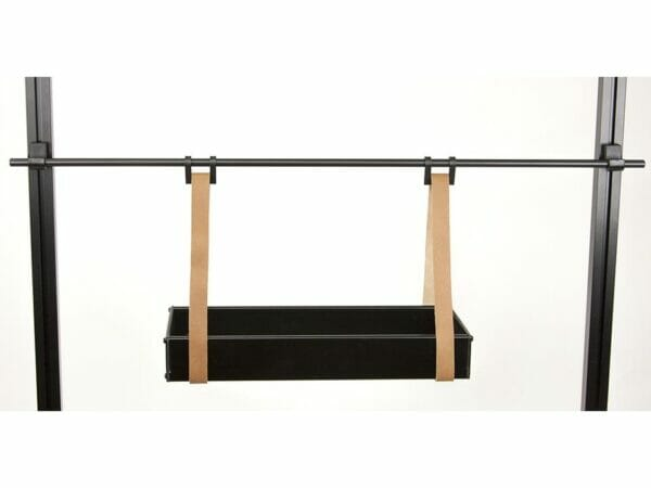 Empty small Juliana Hanging Shelf with Leather Straps - white background