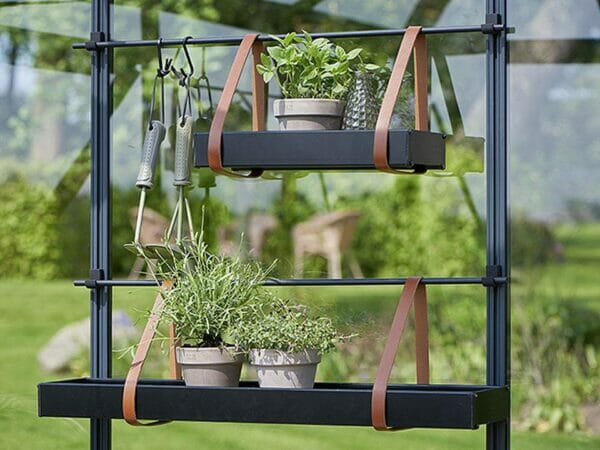 Juliana Hanging Shelves with Leather Straps in two sizes with plants