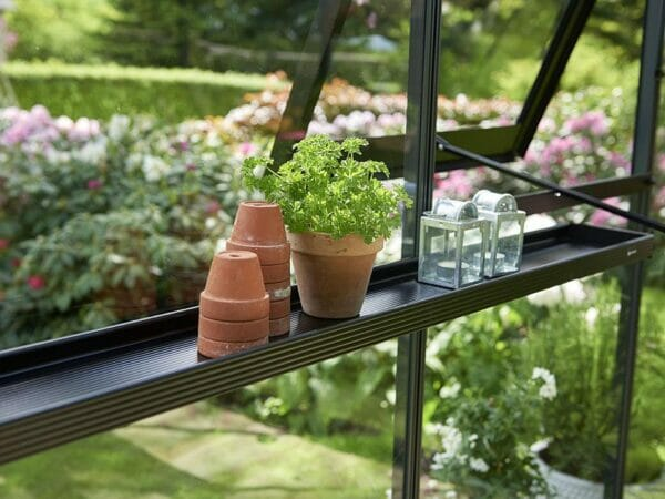 Juliana Narrow Top Shelf with pots