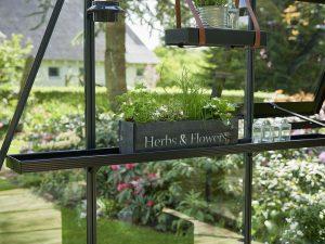 Juliana Narrow Top Shelves with herbs pot