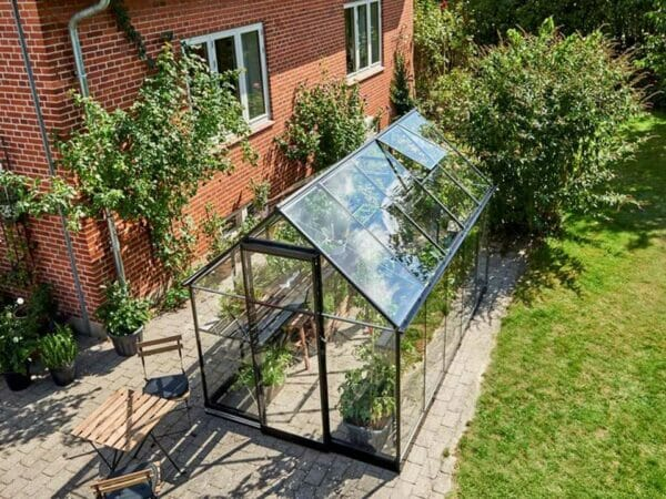 "View of the Juliana ""The Qube"" Greenhouse 7ft x 11ft from a bird perspective"