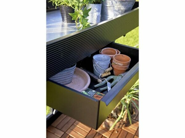 Drawer of the Juliana Seed Tray Shelf with tools