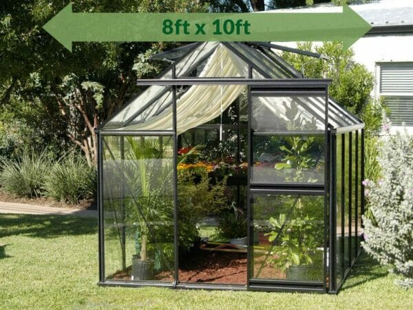 Frontal view of the Janssens Junior Victorian J-VIC 23 Greenhouse 8ft x 10ft