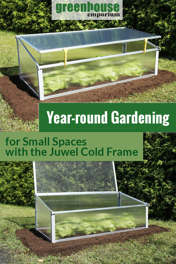 Cold frame with lid open and closed and the text: Year-round Gardening for Small Spaces with the Juwel Cold Frame