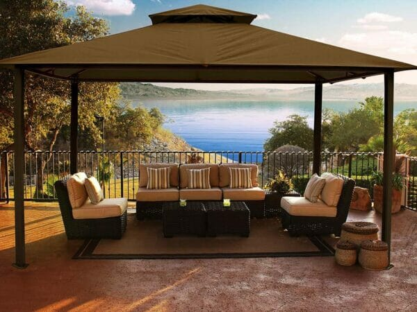 Kingsbury Gazebo with Cocoa Sunbrella Top
