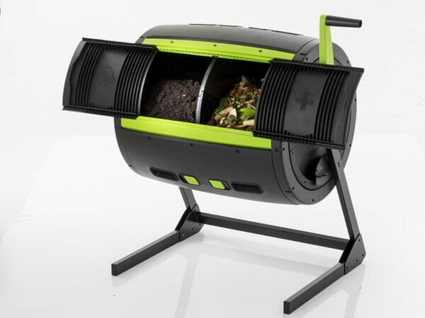 Open MAZE Compost Tumbler with compost inside