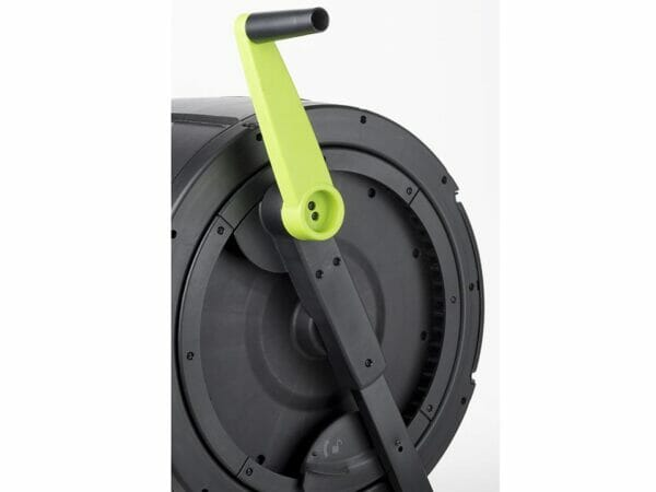 Ratchet handle and side view of the MAZE Compost Tumbler
