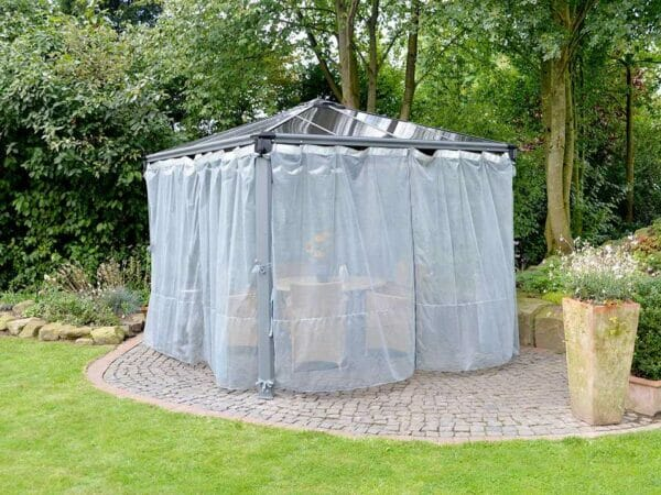 Milano Netting Set Enclosing a gazebo in a garden