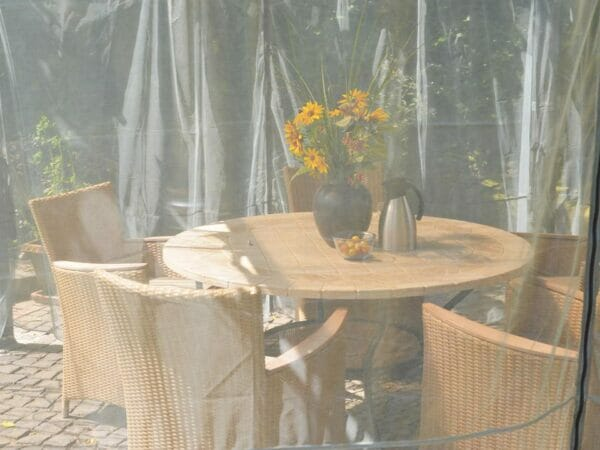 Close up view of Milano Netting Set enclosing a gazebo
