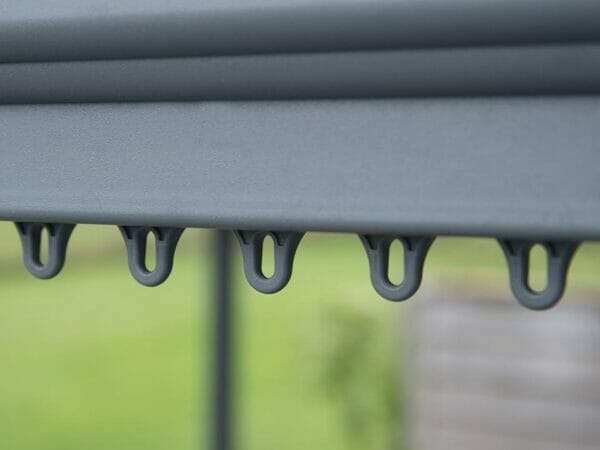Milano 3000 10ft x 10ft Hard Top Gazebo showing clips for curtains