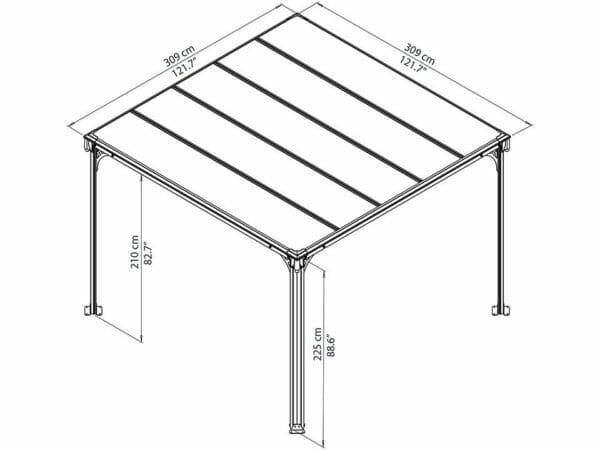 Full view of Milano 3000 10ft x 10ft Hard Top Gazebo framework showing dimensions