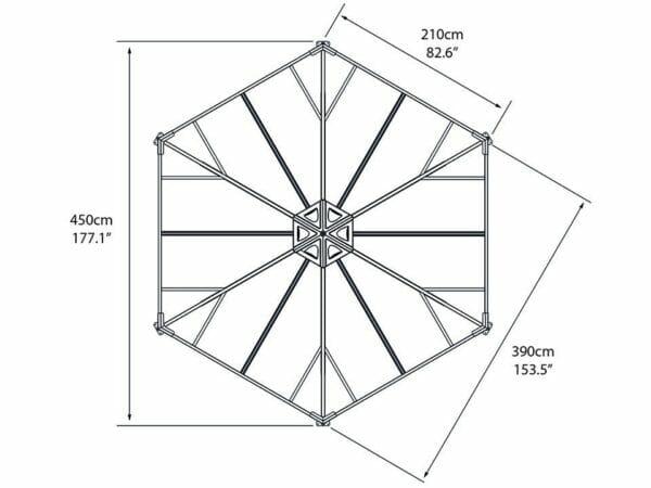 Top view of Monaco Hexagonal Gazebo framework with dimensions - white background