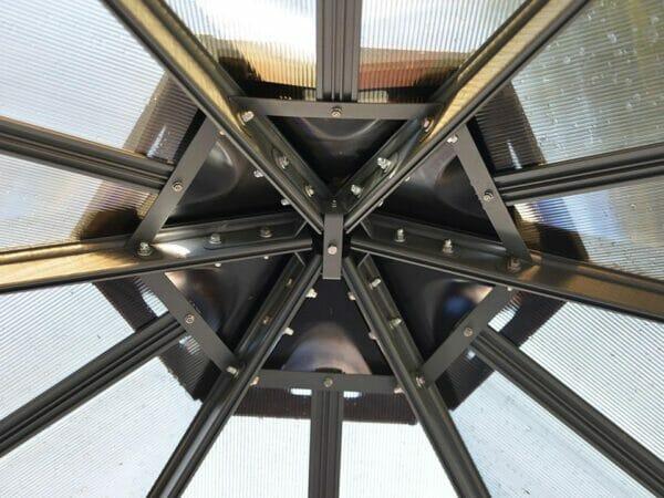 Monaco Hexagonal Gazebo - close up view of interior framework structure