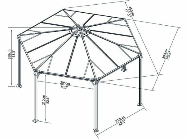 Full view of Monaco Hexagonal Gazebo framework with dimensions - white background