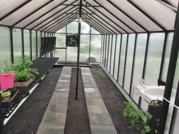 Installed Monticello Greenhouse Sink System inside a greenhouse